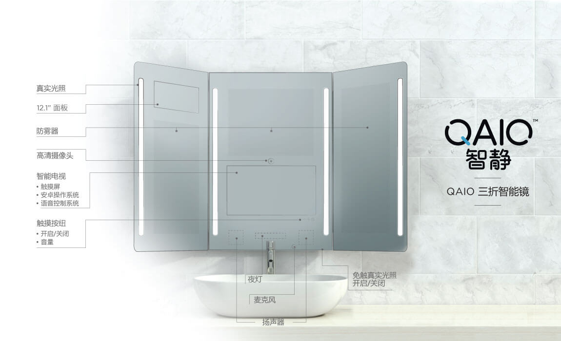 QAIO Trifold Smart Mirror Model & Specs in Chinese Language