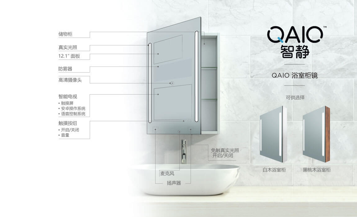 QAIO Cabinet Smart Mirror Model & Specs in Chinese Language