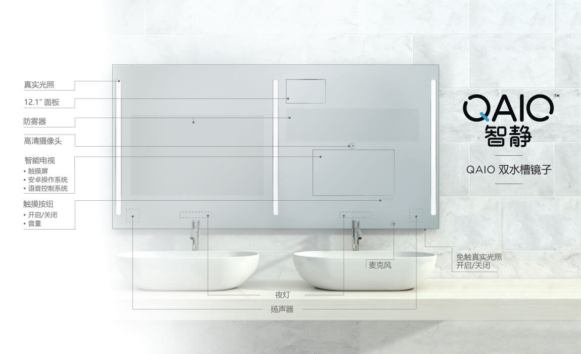 QAIO Double Sink Smart Mirror Model & Specs in Chinese Language