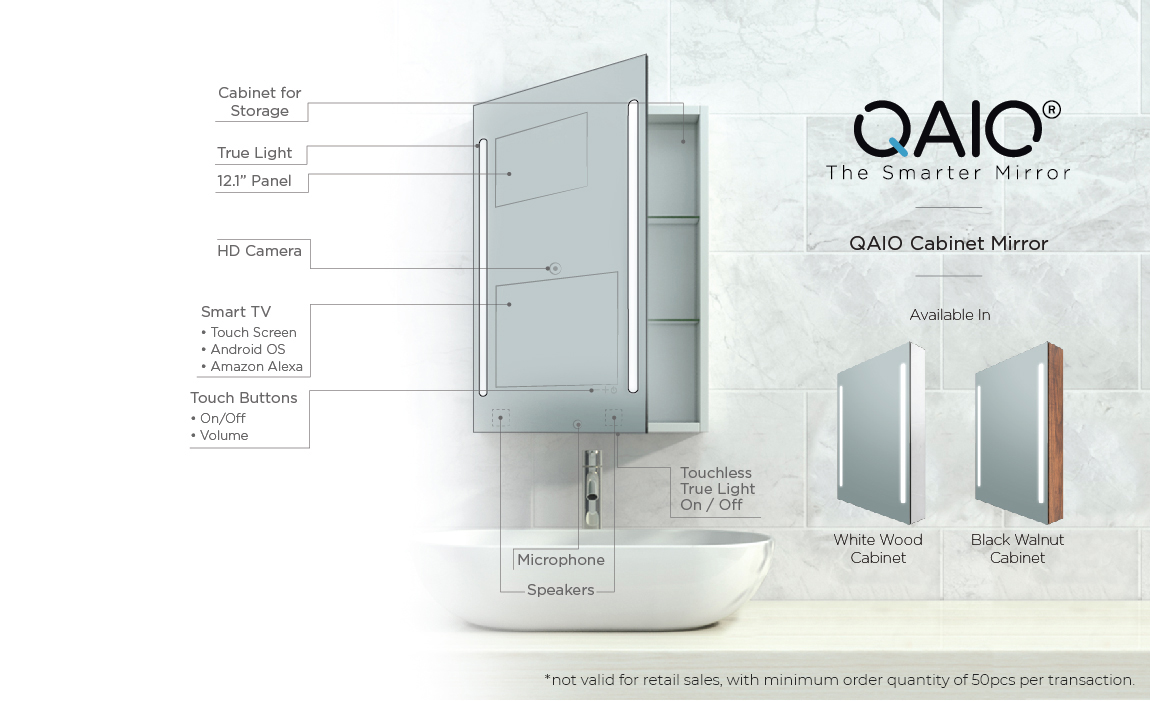 QAIO Cabinet Smart Mirror Parts also available in white wood and black walnut cabinet