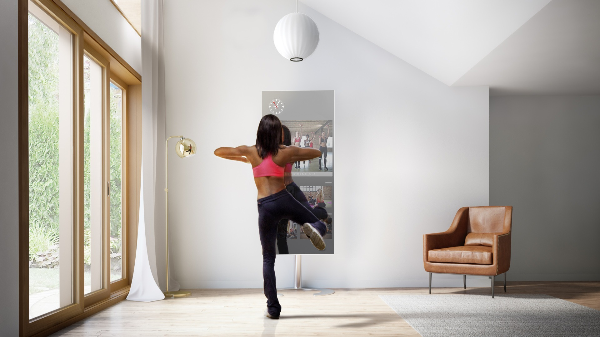 A woman exercising in front of QAIO Flex Fitness Mirror