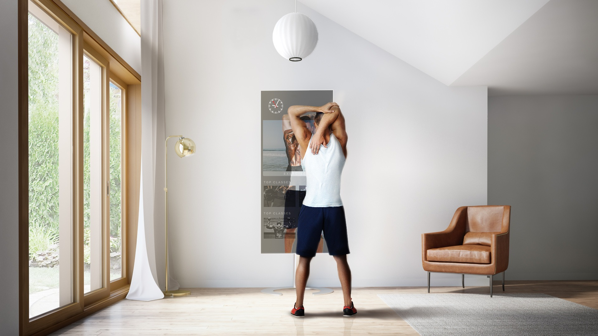 A man stretching in front of QAIO Flex Fitness Mirror