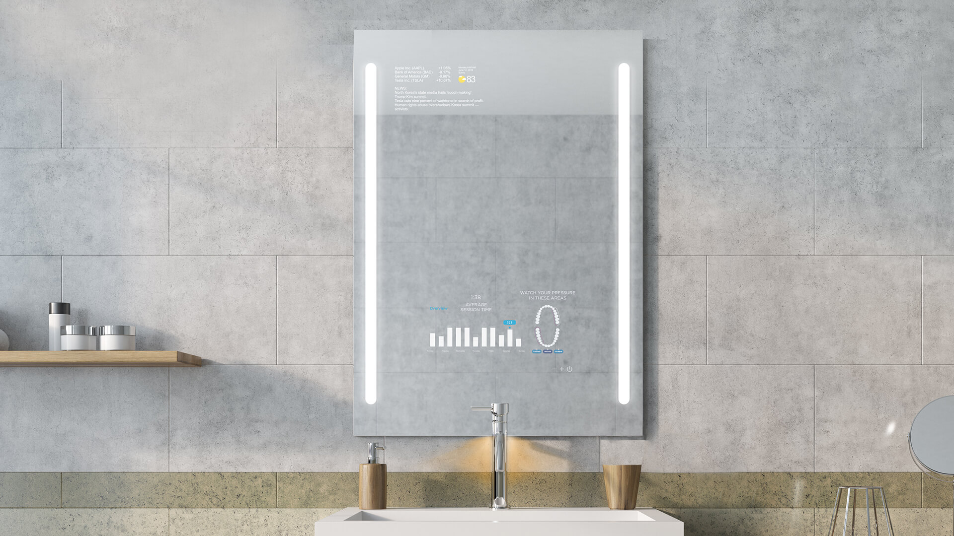 QAIO smart mirror digital toothbrush connected