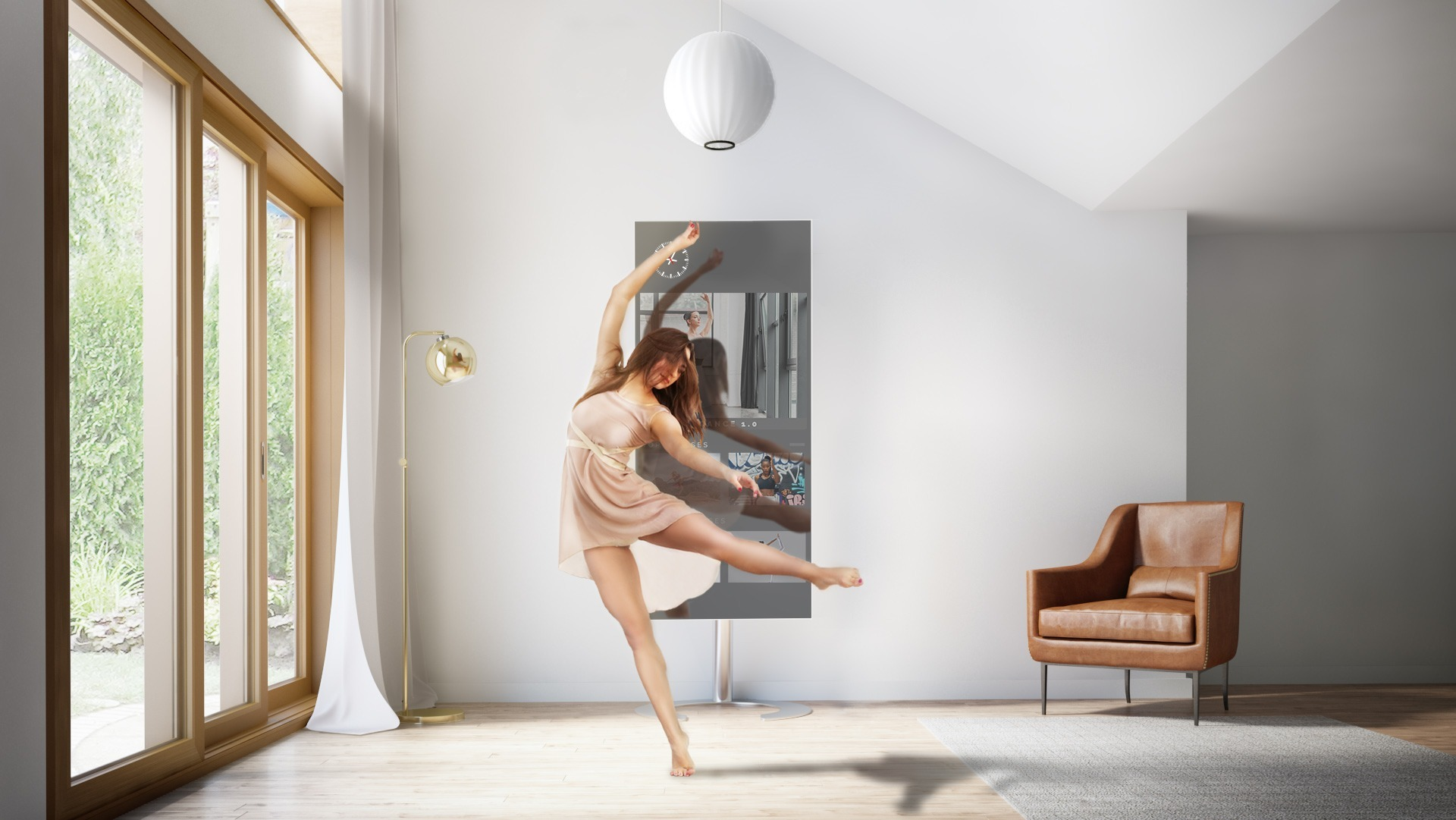 A woman dancing ballet in front of QAIO Flex Fitness Mirror